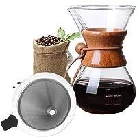 Bestcool Hällkaffebryggare, 400 ml manuell kaffebryggare med rostfritt stålfilter borosilikatglaskaraff med äkta…