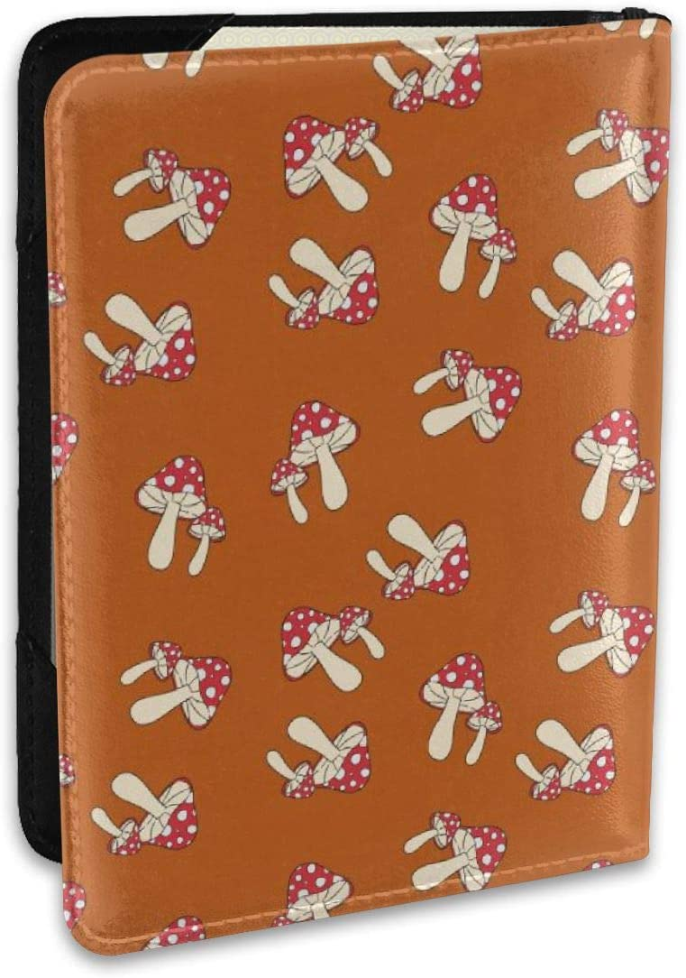 Biahos Leather Passport Cover Fly Agaric Brown Wallet For Passport Case