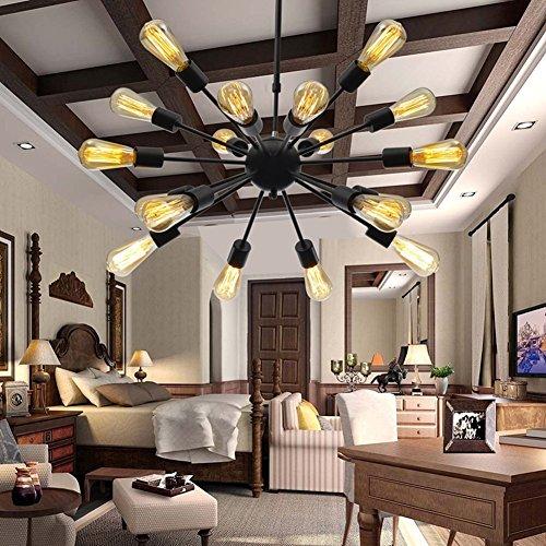 BAYCHEER HL371456 Industrial Vintage Metal Larget sputnik chandelier Pendant Light lamp Ceiling Lighting Painted Finish Black with 18 lights