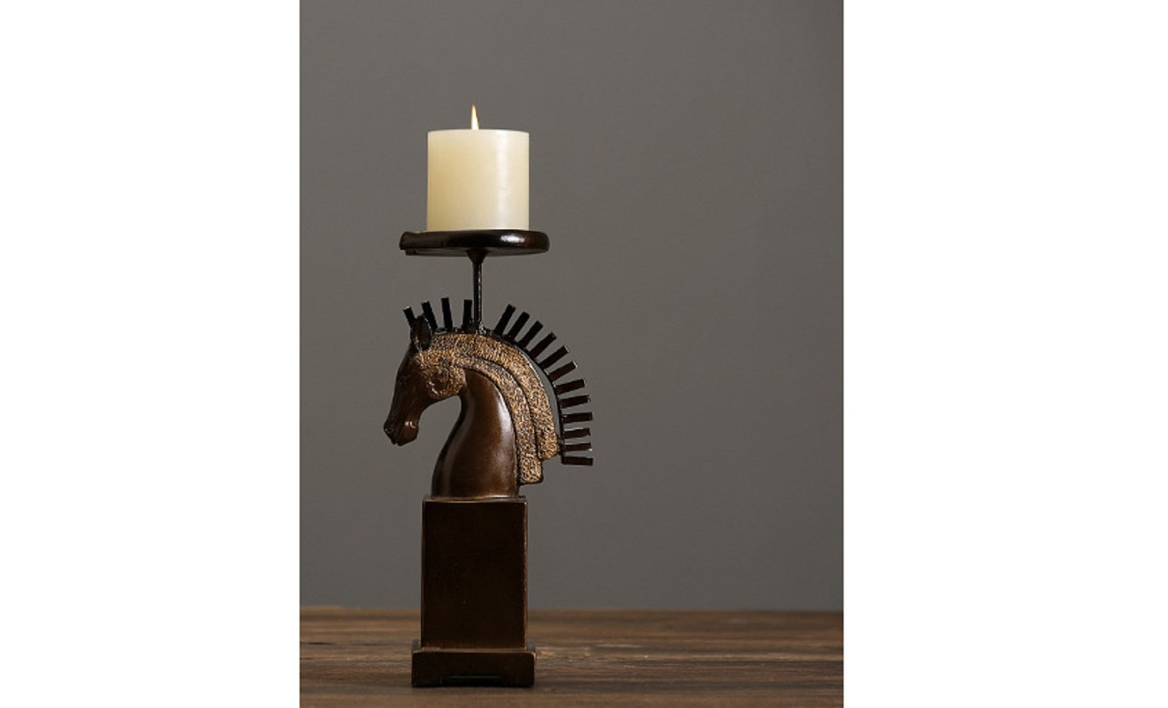 Bwlzsp American country retro horse head candlestick resin handicraft animal decoration pendant LU713118 (Color : S)