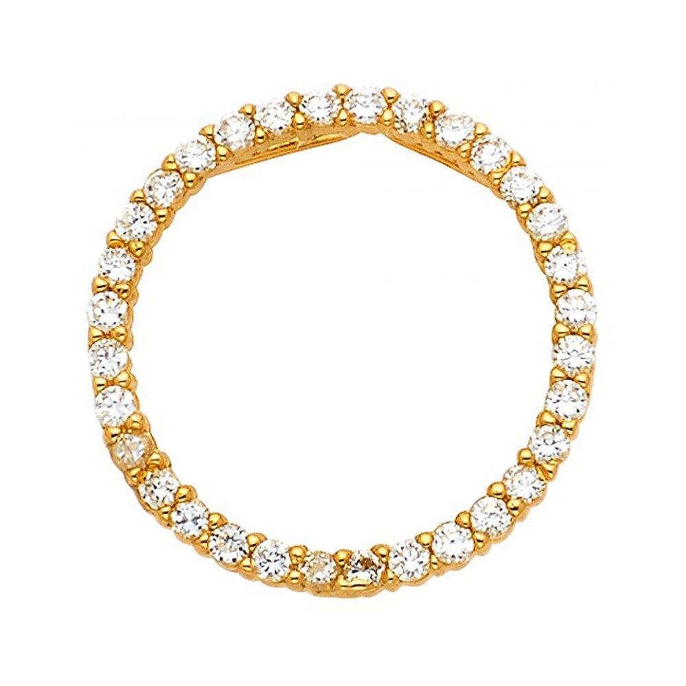 14k Yellow Gold Cubic Zirconia Classic Circle Pendant