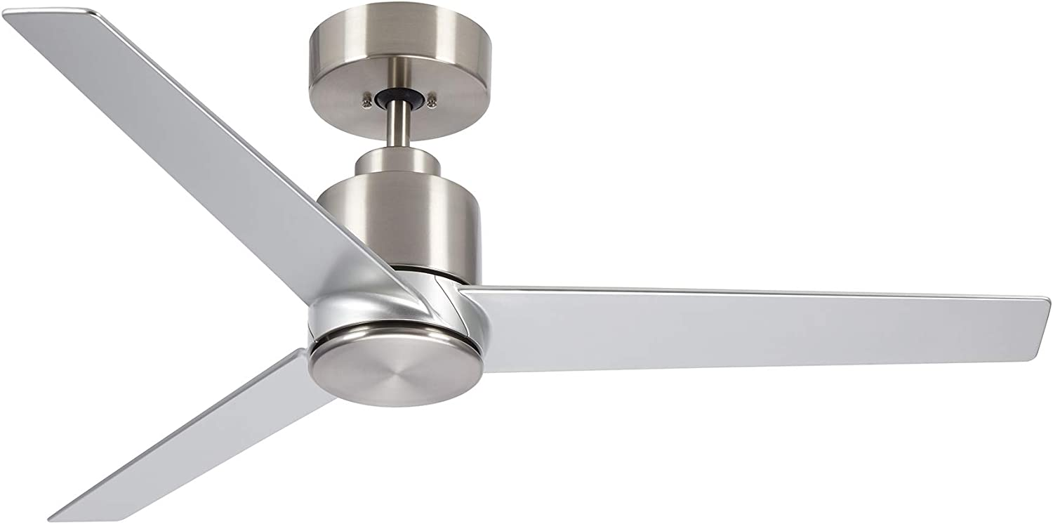 kathy ireland HOME Arlo Outdoor Ceiling Fan with Remote Control, 44 Inch | Modern Metal Fixture, Wet Rated with Weather-Resistant Blades | Semi Flush Downrod Mount | Light Kit Adaptable, Brushed Steel