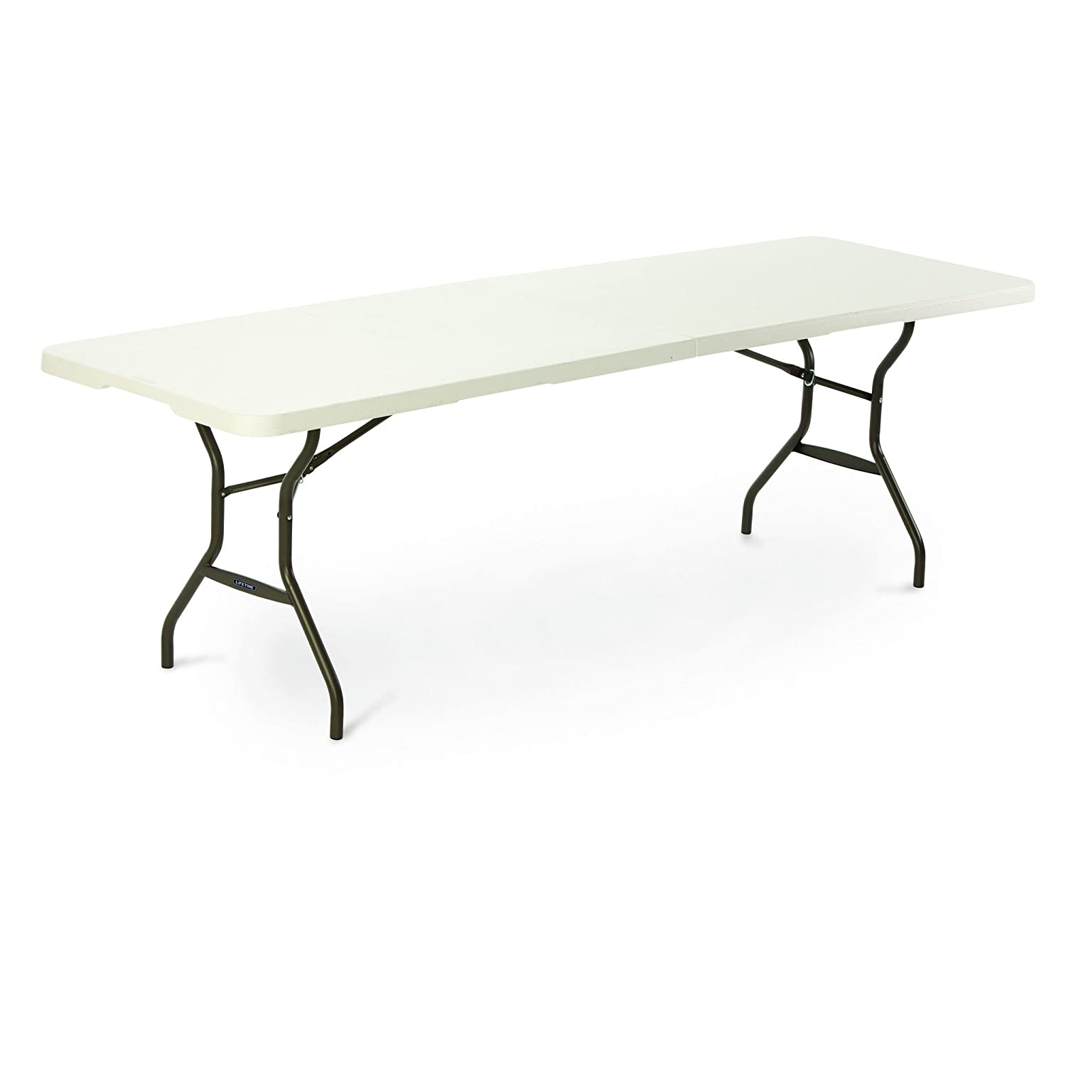 400 Kg Load Capacity with Steel Securing Pins Folding Tables UK Rectangular Plastic Top Fold in Half Table 8-Foot