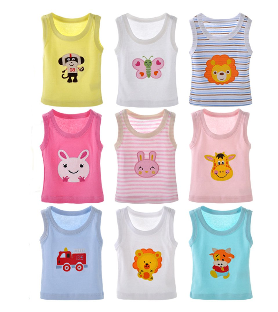 Baby's 5 Pack Cartoon Sleeveless Tank Tops 100 % Cotton