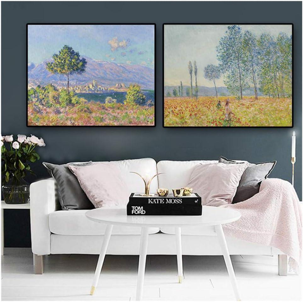 nr Claude Monet Álamos Carteles e Impresiones Paisaje Pintura al óleo sobre Lienzo Arte Cuadro de Pared para Sala de Estar -50x70cm sin Marco