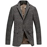 Mens Tweed Blazer With Elbow Patch 2 Buttons Notch Lapel Casual Sports Suit...
