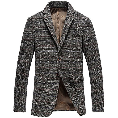 SUNNY SHOP Mens Tweed Blazer With Elbow Patches Wool Winter Christmas Sports Coat Casual