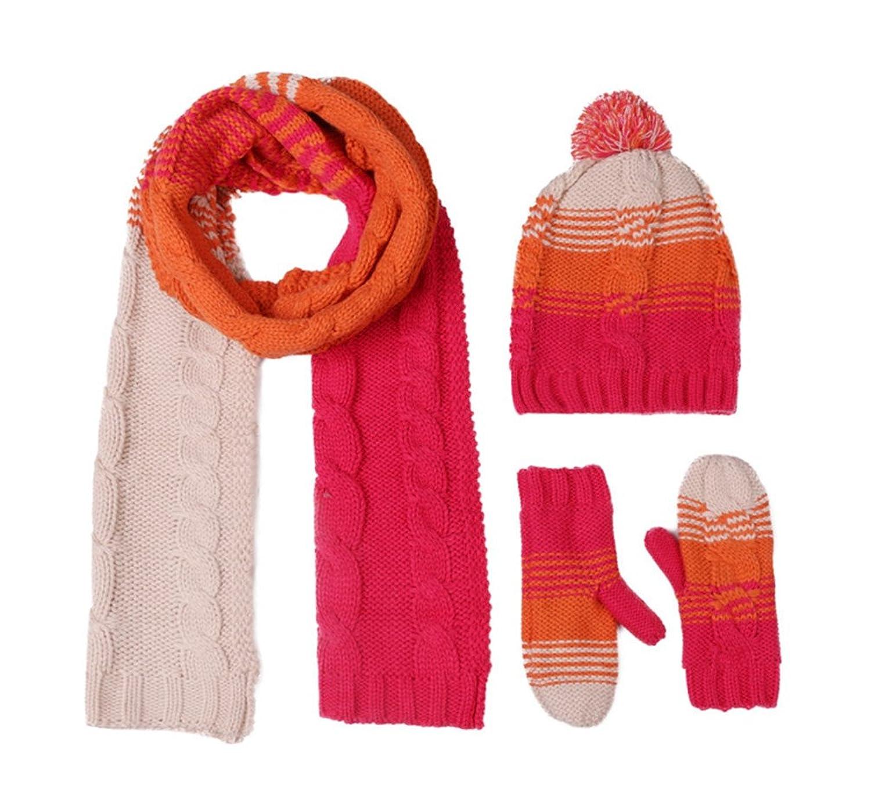 Frauen Winter-Woolen plus Samt Hut / Schal / Handschuhe dreiteilige von Withered eingestellt