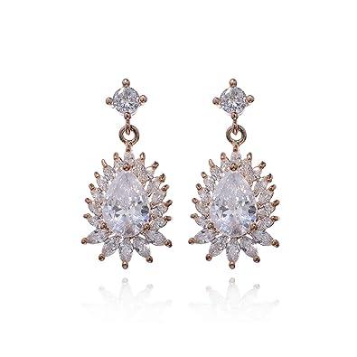 bfca827209be1 Amazon.com: Crystal Chandelier Earrings for Wedding 14k Rose Gold ...