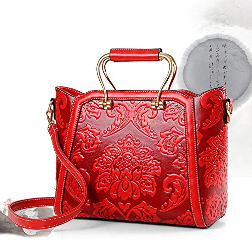 Embossed Chinese Bag Floral Girls Bag Howoo PU Style Women Crossbody Pattern Messenger Shoulder Handbag green for AtHF5qn0