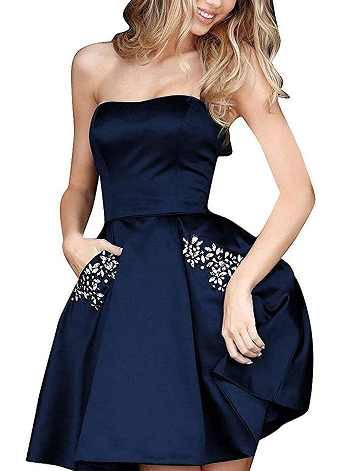 Dark Navy TTYbridal Strapless Beaded Homecoming Dresses Short Satin Cocktail Prom Gown with Pockets HD3