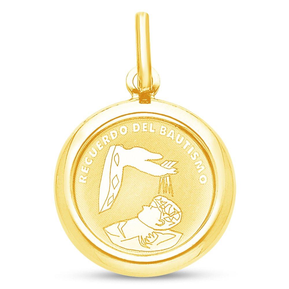 Sonia Jewels 14K Yellow Gold Religious Baptism Recuerdo Del Bautismo Charm Pendant 18x18 mm