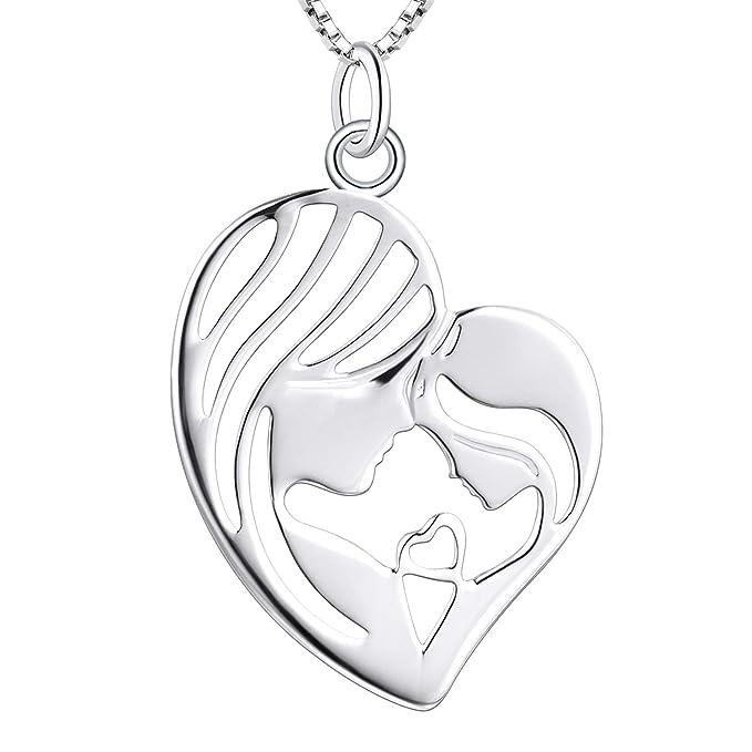YL Collar del hijo de madre e hija, plata de ley 925 Madre e hijo Collar con colgante de corazón Regalos para mamá