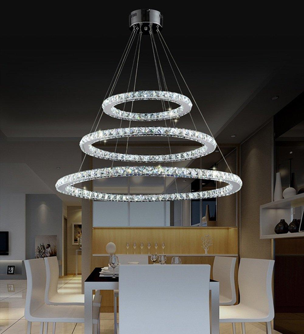 Kronleuchter Design sailun 72w led kaltweiß kristall design hängele drei ringe