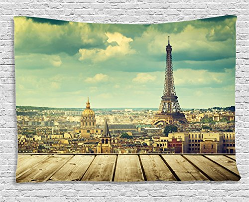 Ambesonne Eiffel Tower Decor Collection, Paris Cityscape with Eiffel Tower View from A Wooden Deck Table Urban Life Classic Home, Bedroom Living Room Dorm Wall Hanging Tapestry, 60 X 40 Inches, Teal (Teal Wall Ideas)