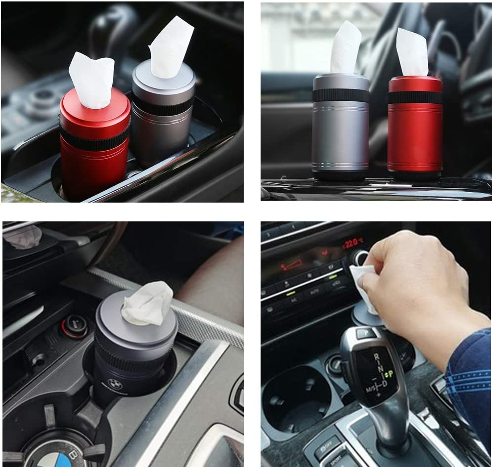 Christmas Red H*D KOOMTOOM Aluminium Alloy Car Cup Holder Paper Towel Holder Facial Tissue Storage 5.23 * 2.83 for BMW 3 Series //5 Series //7 Series //X1//X3//X5//X6 //Lexus//Cadillac