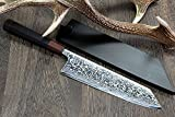 Yoshihiro High Performance SLD Damascus Steel Kiritsuke Knife Mirror Polish Rosewood Handle with Lacquered Nuri Saya Cover