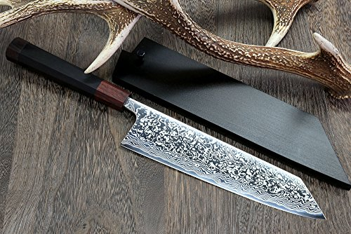 Yoshihiro High Performance SLD Damascus Steel Kiritsuke Knife Mirror Polish Rosewood Handle with Lacquered Nuri Saya Cover by Yoshihiro