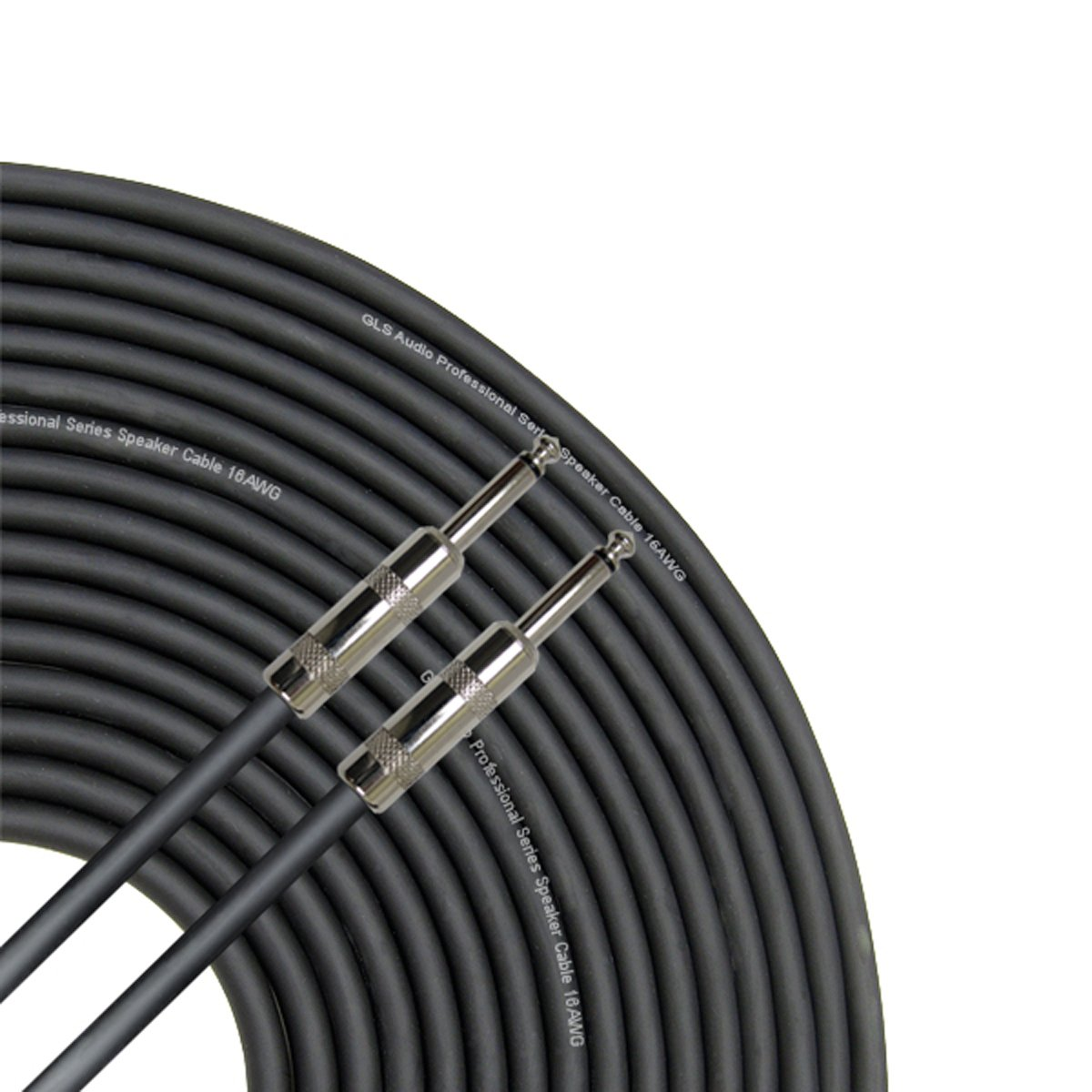 GLS Audio 100 Feet Speaker Cable 16AWG Patch Cords - 100 ft 1/4 Inch to 1/4 Inch Professional Speaker Cables 100 Foot Black 16 Gauge Wire - Pro 100' Phono 6.3mm Cord 16G - Single by GLS Audio