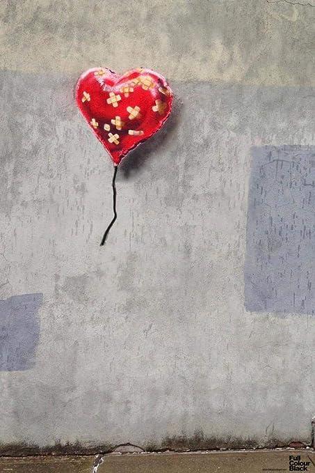 Pyramid America Banksy Bandaged Heart Graffiti Stencil Street Art Urban  Spray Paint Artist Poster 12x18 inch