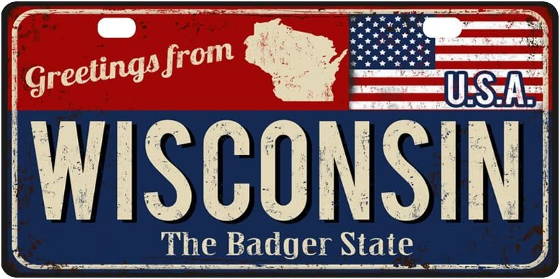 InterestPrint Wisconsin State Vintage Rusty Metal Sign with American Flag Automotive Metal License Plates, Car Tag Decoration for Woman Man - 11.8 x 6.1 Inch