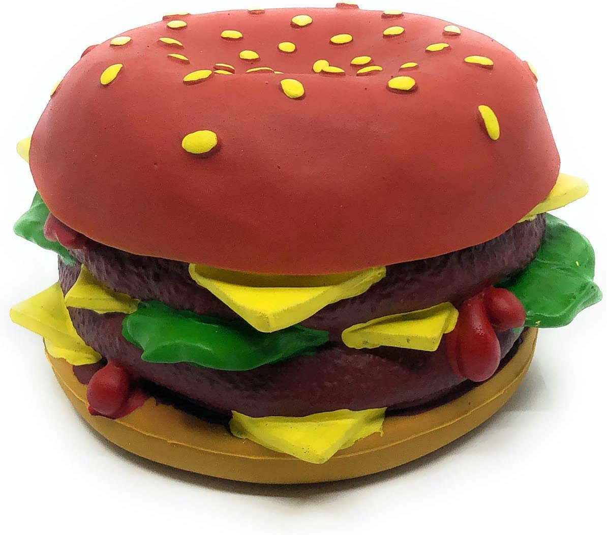XL Cheeseburger Dog Toy - Big Squeaky Dog Toy - Natural Rubber (Latex) - Large Breed Dogs - 5.5