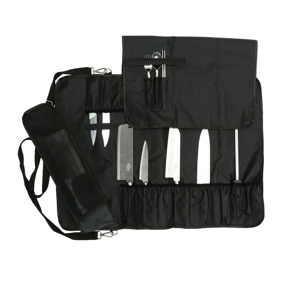 Chef's Knife Roll with 17 Slots Can Holds 13 Knives, 1 Meat Cleaver, And 3 Utensil Pockets Multi-function Knife Roll with Handle, Shoulder Strap & Zippered Mesh Pocket Holder HGJ60 by Hersent (Image #2)