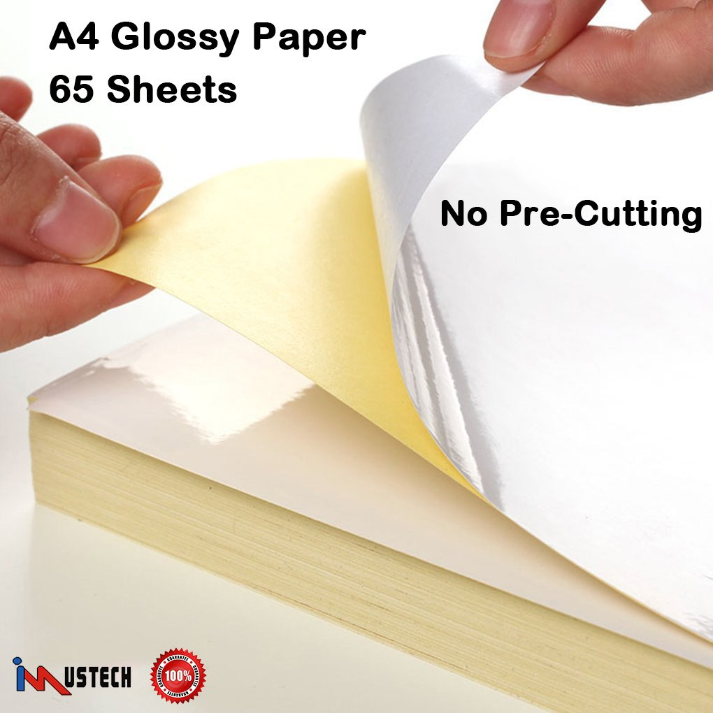 iMustech 65 Sheets Glossy Sticker Paper, A4 Self Adhesive Label Paper For Inkjet/Laser Printers