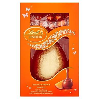 Huevo de Pascua de chocolate Lindt Lindor trufas Leche y Naranja 285g