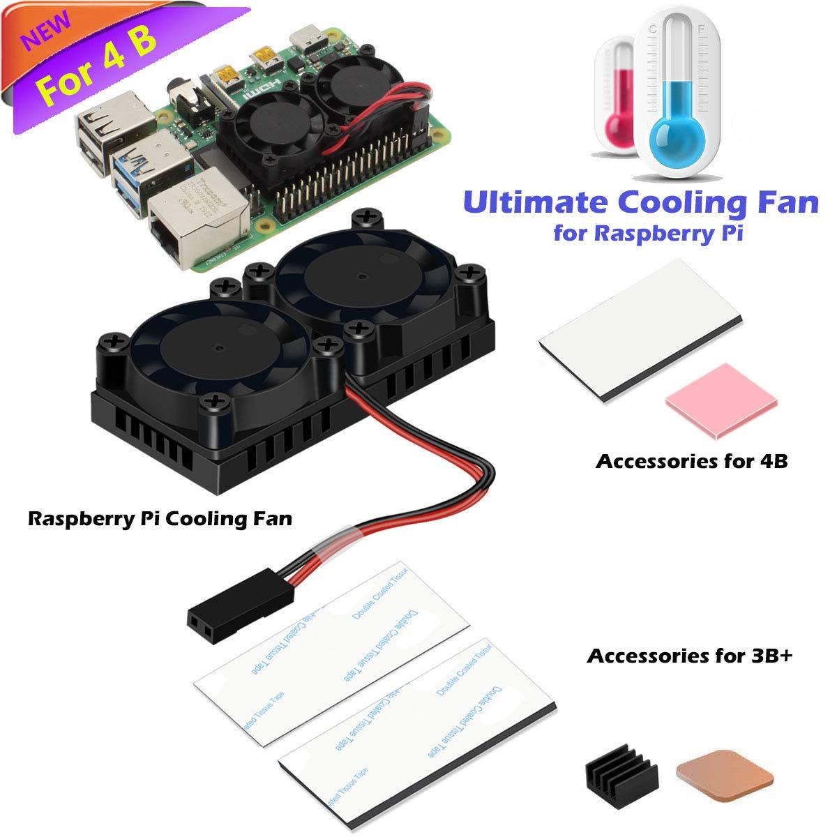 iUniker Raspberry Pi 4 Fan, Raspberry Pi Dual Fan with Raspberry Pi Heatsink, Raspberry Pi Fan for Raspberry Pi 4 Model B, 3B+/Pi 3 B/Pi 2 B by iUniker