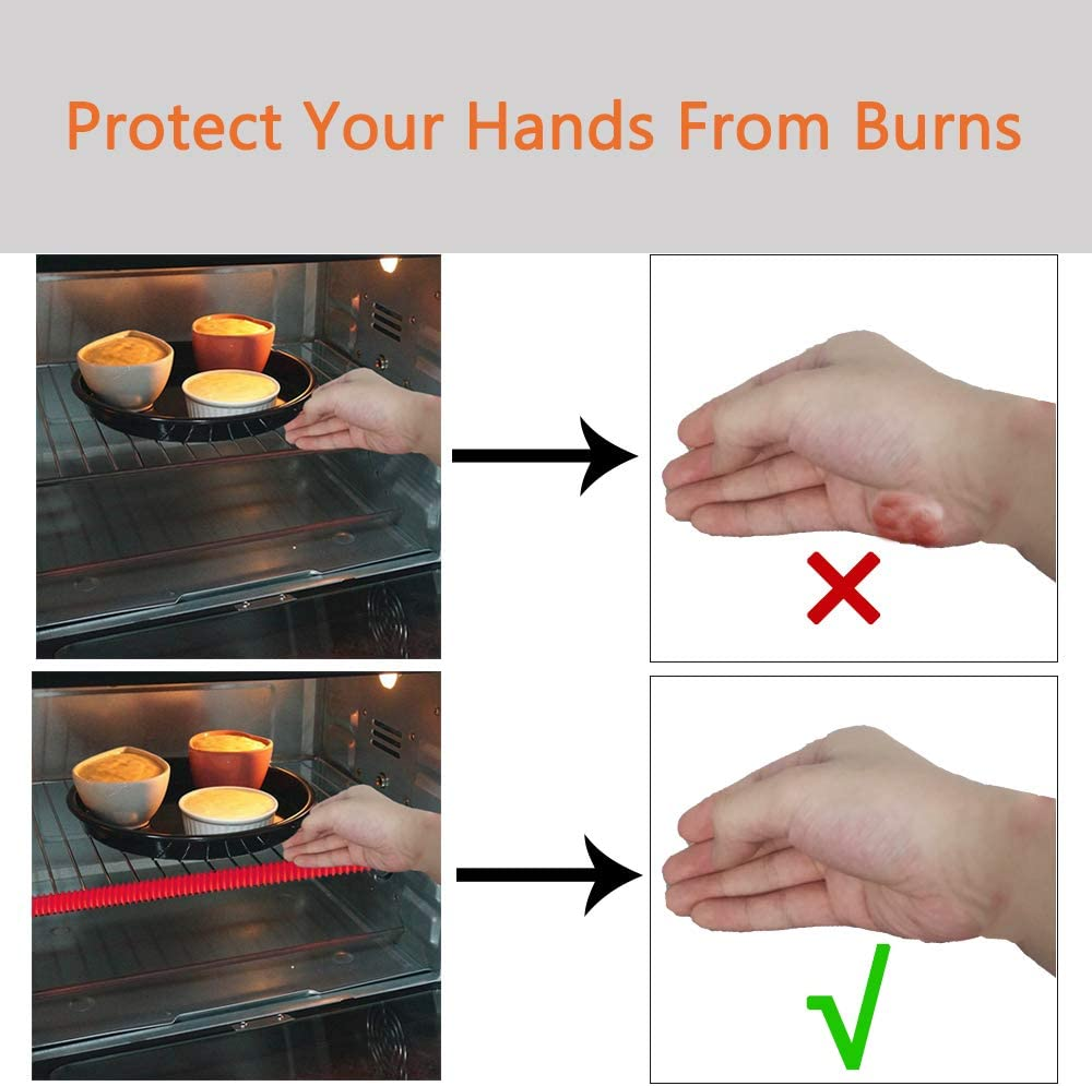 Silicone Oven Rack Shield Protectors Pack of 2 Lelines Heat Resistant Guard for Oven Rack Oven Shelf Edge Cover 14 inches