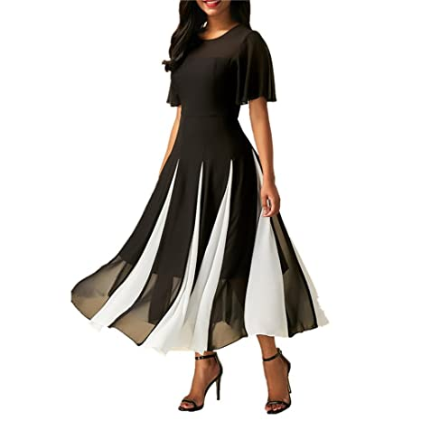LDRLSZ Fashion Women Dress Short Sleeve Stripe O-Neck Chiffon Dress Elegant Summer Women Long