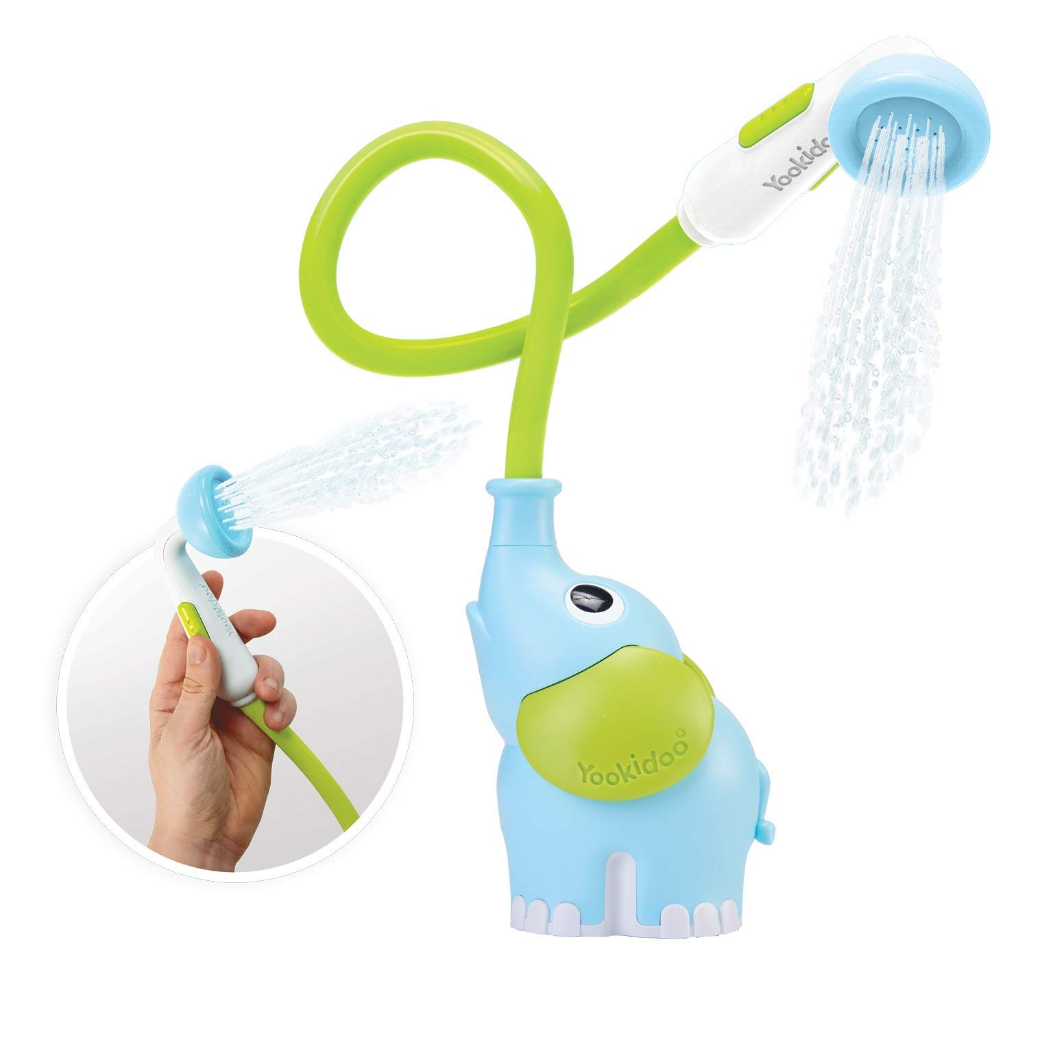 Yookidoo Baby Bath Shower Head - Elephant Water Pump and Trunk Spout - for Newborn Babies in Tub Or Sink