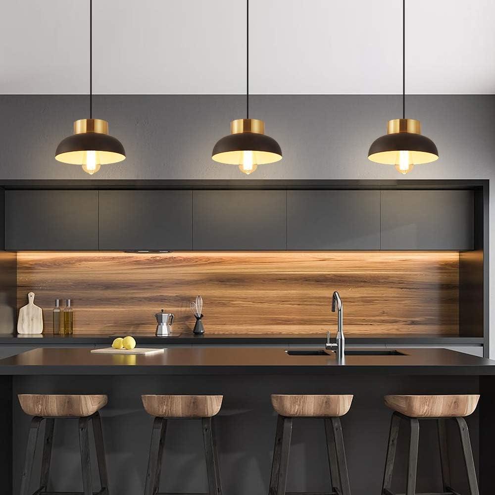 Black and Gold Pendant Lighting, Modern 1-Light Adjustable Pendant Light, Minimalist Ceiling Hanging Lamp for Kitchen Island, Barn, Dining Room, Living Room, Bedroom - -