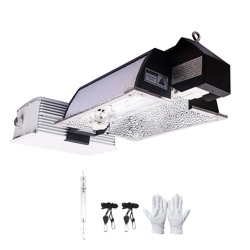 MELONFARM 1000W Double Ended Grow Light System Kits Complete Fixture for Indoor Plants Includes 1000 Watts Super Lumen DE HPS Bulb Reflector with Digital Dimmable Ballast 240V