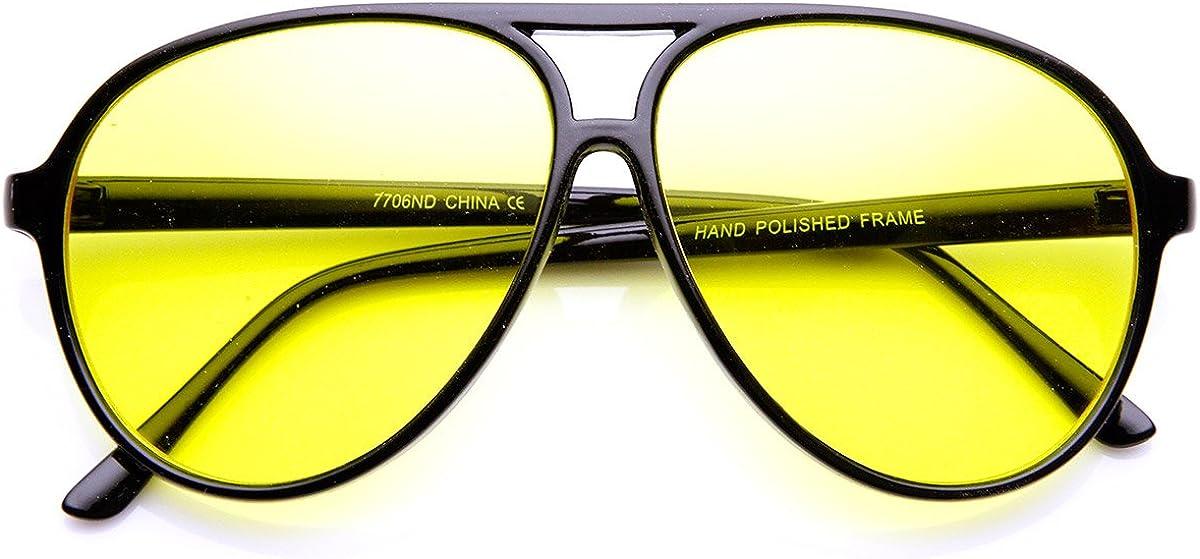 Retro Sunglasses | Vintage Glasses | New Vintage Eyeglasses Retro 80s Style Driving Lens XL Large Plastic Aviator Sunglasses (Black Yellow) $9.99 AT vintagedancer.com