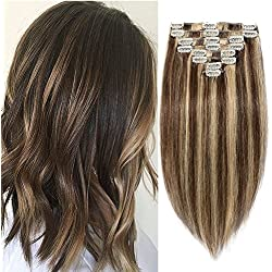 16 inch 90g Clip in Remy Human Hair Extensions Full Head 8 Pieces Set Long length Straight Very Soft Style Real Silky for Beauty #4/27 Medium Brown/Dark Blonde