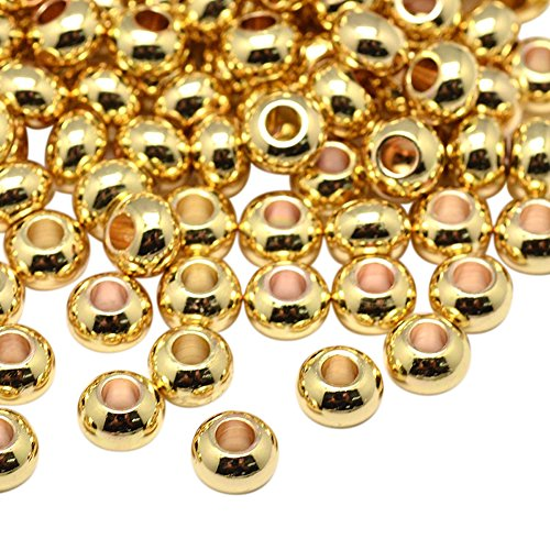 NBEADS 20Pcs 6mm Brass Smooth Round Metal Spacer Beads Loose Beads for DIY Jewelry Making Findings ()