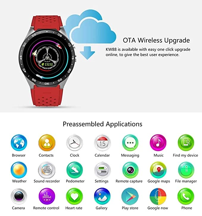 Amazon.com: Smart Watch Android 5.1 3G GPS Bluetooth HR 1.39 ...