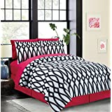 Iron Gate 8-piece Bed in a Bag Set Black & Pink (Queen)
