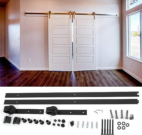 Juego de herrajes para puerta corredera, sistema de puerta corredera colgante, accesorios, 200 cm, para puertas de cristal o madera: Amazon.es: Bricolaje y herramientas