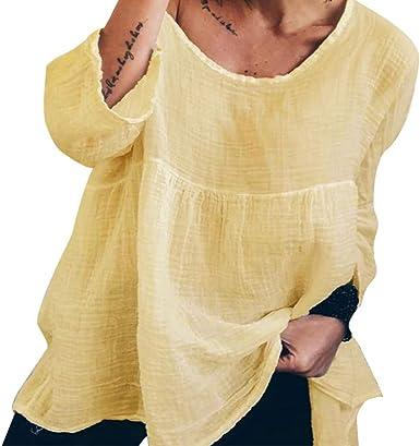 Camisetas Manga Larga Mujer Verano Sencillos Blusa Camisa de Mujer Color Liso Blusas Suelto Camisa Delgada de Las Mujeres Cuello en O Camisa de poliéster Suelto Casual Caminar Diario Compras LiNaoNa: Amazon.es: