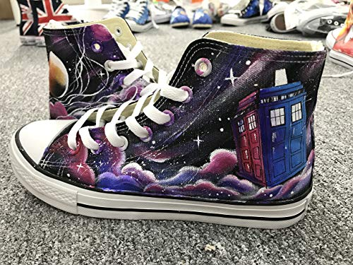 4ff12997c3 Amazon.com  Doctor Who Hand Painted Shoes For Women Men Custom Sneakers  Painted Sneakers Hand Painted Shoes DW Shoes Black Canvas Shoes Unique  Gifts  ...