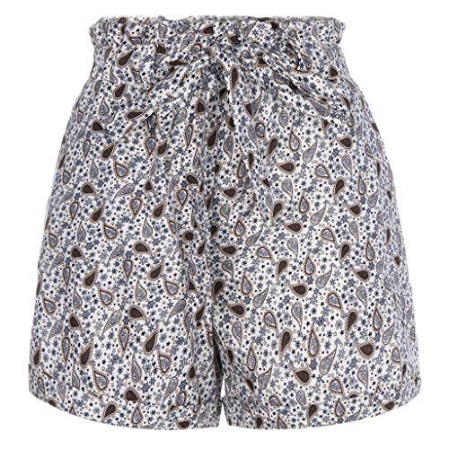 (Exteren Fashion Women Pocket Loose Hot Pants Lady Summer Beach Shorts Trousers for Women Girls (White_A, X-Large))