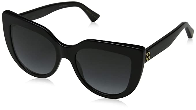 Amazon.com: Gucci gg0164s 001 negro Cateye anteojos De Sol ...