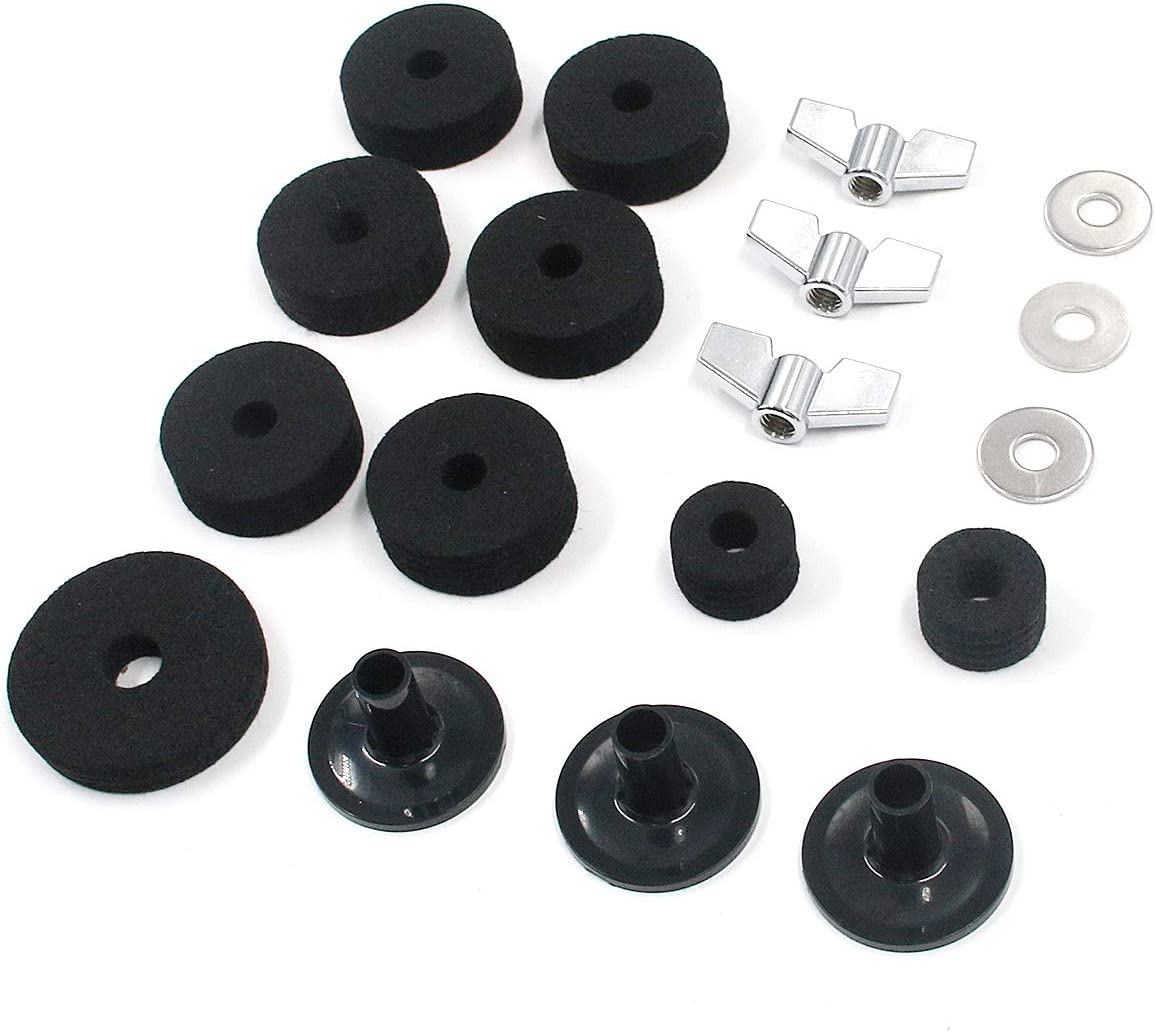 Geesatis 18 PCS Cymbal Felts Hi-Hat Clutch Felt Cymbal Washer and Base Wing Nuts Cymbal Sleeves for Drum Cymbal Replacement Accessories(Black)