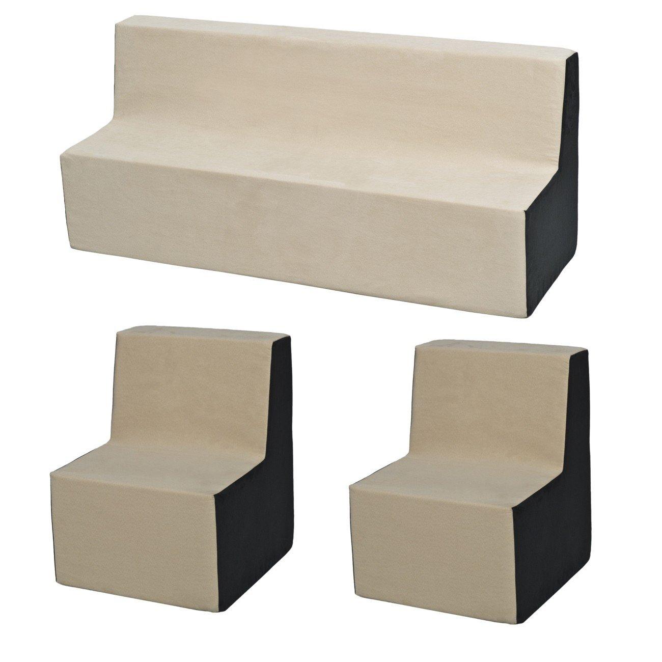 Colore: Grigio-Beige Velinda Set Completo mobili Bambino:poltroncina+divanetto+Poltrona Relax