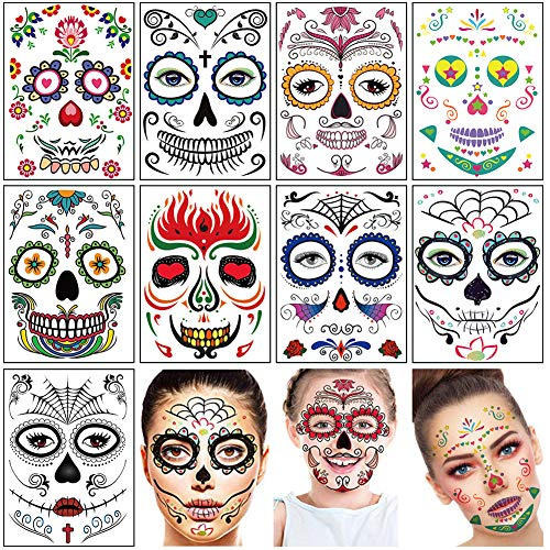 Day of the Dead Halloween Temporary Face Tattoo Stickers 9 Sheets Sugar Skull Glitter Floral Black Skeleton Web Red Roses Face Mask Tattoo for Women Men Adult Kids Boys Halloween Party Favor Supplies