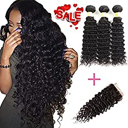 YePei Brazilian Virgin Deep Wave Hair 3 Bundles With Free Part Lace Closure 100% Unprocessed Human Hair Weave Weft(16 18 20 with 16)