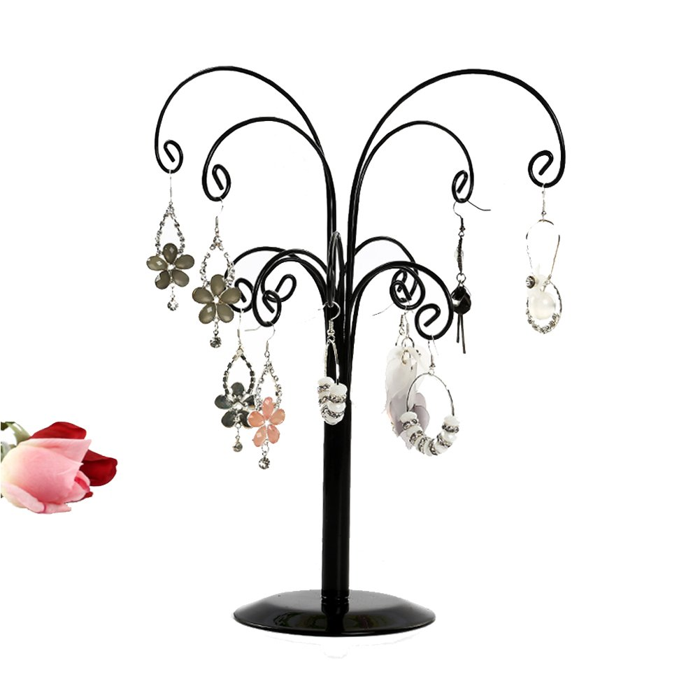 Necklace Holder, Botitu® 12.6 inch Tall Jewelry Tree with 12 Hooks Bracelets Earring Organizer for Teen Girls and Women Jewelry Display(black)